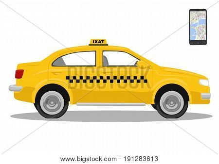 Yellow taxi car and smarthone. App for taxi. Application for calling taxi. Isolated over a white background