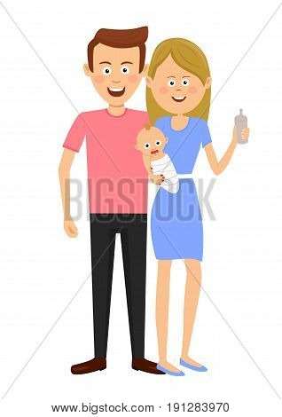 Young mother holding baby and baby's dummy. Young family standing over a white background. Flat design