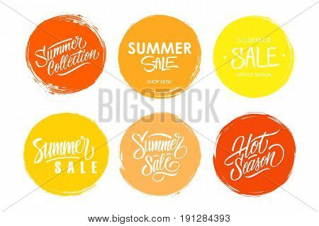 Summer Sale hand drawn lettering collection. Set of special offer signs with handwritten text design and circle brush stroke backgrounds for business, commerce and advertising. Vector illustration.