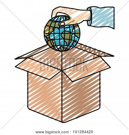 color crayon silhouette hand holding a globe earth world to deposit in cardboard box vector illustration