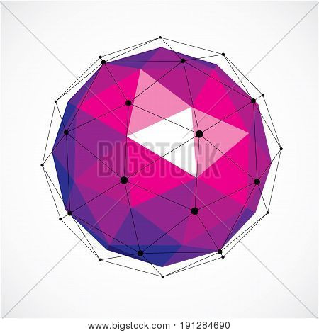 Abstract 3D Faceted Figure With Connected Black Lines And Dots. Purple Vector Low Poly Design Elemen