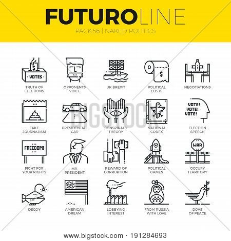 Unique thin line icons set of truth about politics and political games. Premium quality outline symbol collection. Modern linear pictogram pack of metaphors. Stroke vector logo concept for web graphics