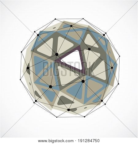 Vector dimensional wireframe low poly object grayscale spherical shape with black grid. Technology 3d mesh element made using triangular facets for use as design form in engineering.