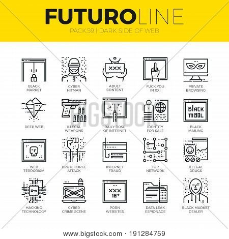 Unique thin line icons set of darknet deep web and hacker technology. Premium quality outline symbol collection. Modern linear pictogram pack of metaphors. Stroke vector logo concept for web graphics.
