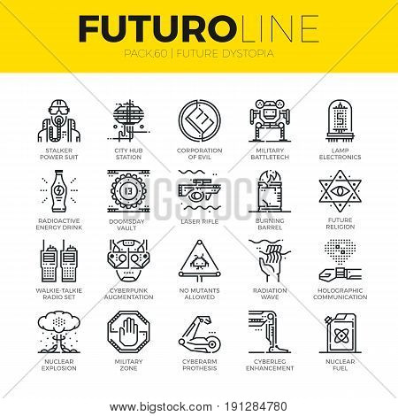 Unique thin line icons set of future world dystopia nuclear disaster. Premium quality outline symbol collection. Modern linear pictogram pack of metaphors. Stroke vector logo concept for web graphics.