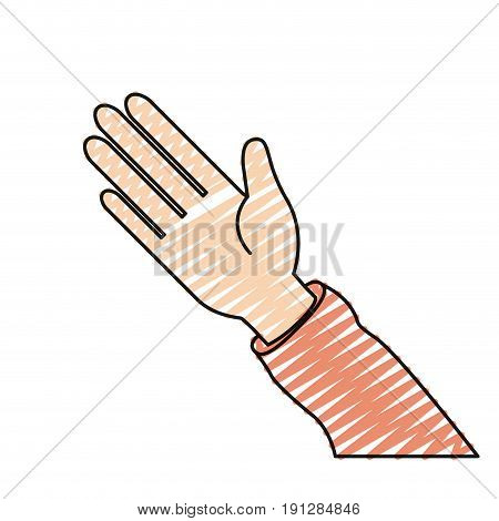 color crayon silhouette hand of symbol of greeting vector illustration