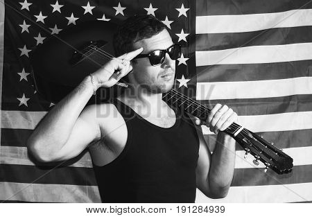 Male T-shirt With A Guitar On The Background Of The American Flag,