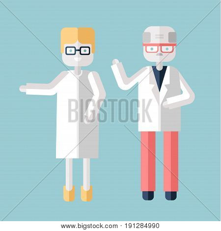 Two elderly personage, a man and a woman in white coats. Physicians, scientists or chemists. Vector illustration in flat style, isolated on white background.