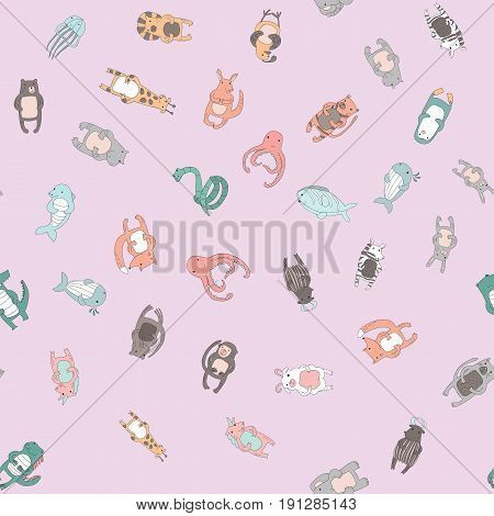 Cute cartoon animal characters. Seamless pattern on pink background, vector illustration in simple style.
