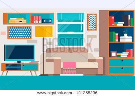 Living room with furniture. Cool graphic living room interior design with furniture sofa, chairs, bookcase, table, lamps. Flat style vector illustration.