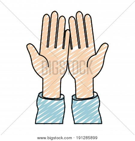 color crayon silhouette front view palm of hands in symbol receiving vector illustration
