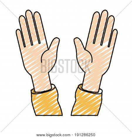 color crayon silhouette front view palm of hands in symbol greeting vector illustration