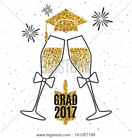 Grad 2017 greeting card with glasses of champagne, golden hat, bell and fireworks for invitation, banner, poster, postcard. Vector background