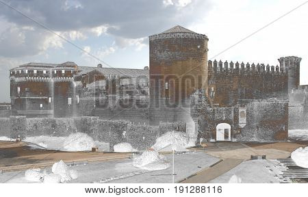 Surreal photography of  Castle of Cuéllar, Segovia, Spain, Old jail during the Spanish Civil War, restoration, Surrealistic photography of landscapes of Spain,