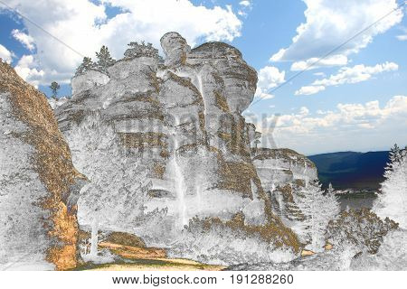Surreal photography of Church of San Bartolomé, , Soria, Spain, Romanesque, Located in the natural park of the canyon of the river lobos, Romanesque rosette