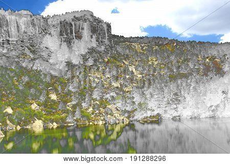 Surreal photography of Black Lagoon of Picos de Urbión, Soria, Surrealistic photography of landscapes of Spain,