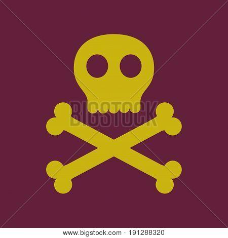 flat icon on stylish background halloween skull bones