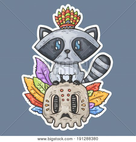 Cartoon raccoon sits on the skull. Illustration for web and print