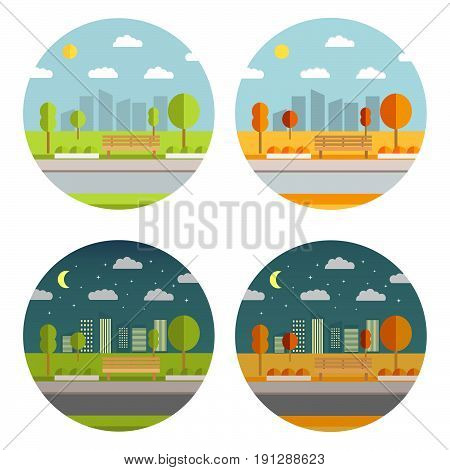 The beautiful summer and autumn city garden with a bench and trees. A city landscape in flat style a vector. City park with town building background.Evening park  The beautiful summer and autumn city garden with a bench and trees. A city landscape in flat