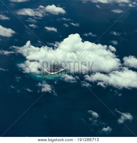 Aerial view of clouds above sea. Philippines 2017