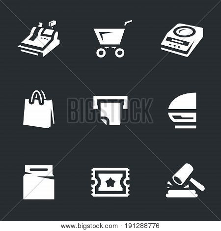 Cash register, trolley, scales, package, check, showcase, excise stamps, sale.