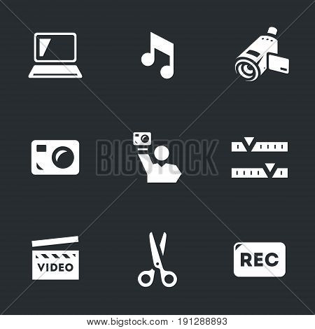 Computer, music, video camera, mobile camera, operator, editing, shooting, scissors, record.