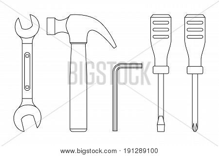 Tools line drawings. Icons of screwdrivers spanner hammer.