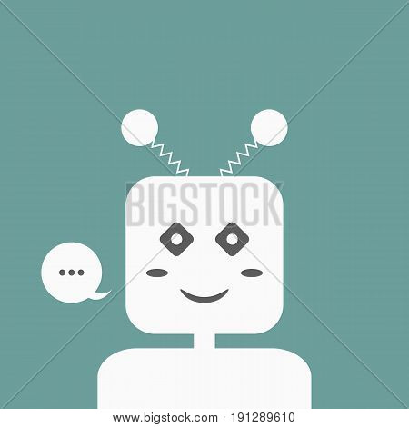 Smiling Chatbot with a speech bubble. Friendly Chat Bot. Logo template for design. Vector illustration. Blue white dark gray.