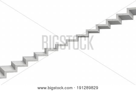 3d rendering of a grey stone staircase on white background. Going up. Corporate ladder. Unreliable choice.