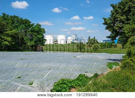 Field covered with nonwoven in front of an industrial plant
