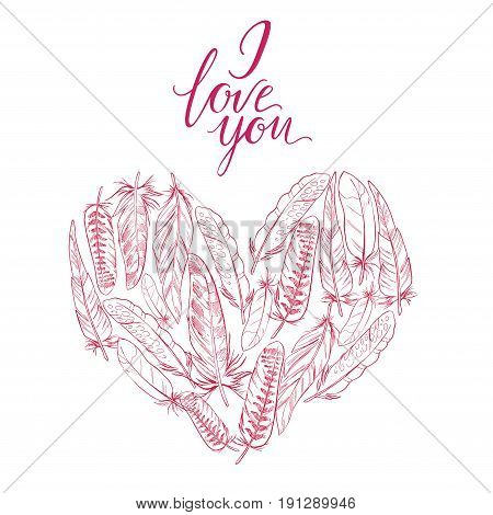 Vector illustration Heart of feathers and the words I love you. Ornamental bird feathers isolated. Boho elements.