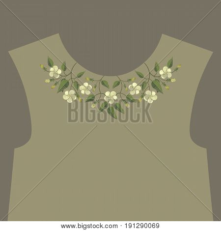 Embroidery ethnic neckline floral pattern. Embroidery trendy design