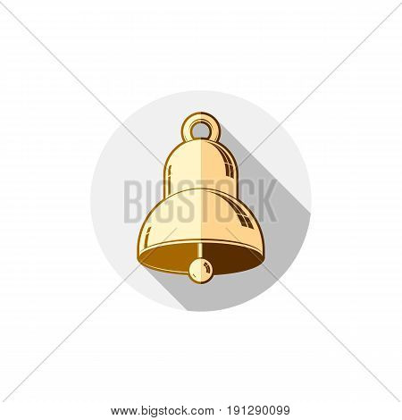 Time is running out theme symbol. Alarm conceptual graphic icon for use in design and marketing. Waiter calling golden bell.