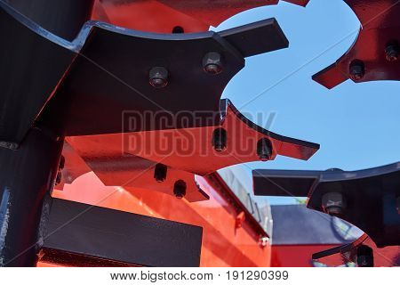Close-up view of the fertilizer spreader blades