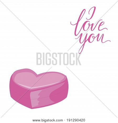 Decorative card with simple pink heart. I Love You lettering. Isolated on white background. Vector