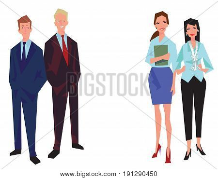 Four office workers employees managers. Two men and two women. Business people in casual clothes. Isolated on white. Business Icons. Business design. Vector