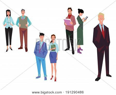 Office workers employees managers and team leader. Business people in casual and office clothes. Isolated on white. Business Icons. Business design. Vector illustration.