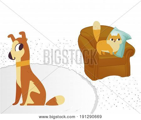 Ginger color cat and dog characters. Vector flat cartoon illustration. Isolated on white