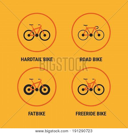 Icons Different Bicycle Bikes Option 1