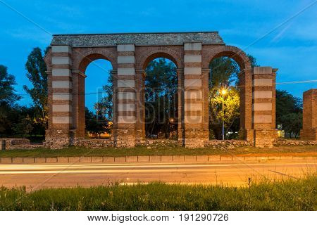 Night photo of Ruins of Roman Aqueduct in city of Plovdiv, Bulgaria