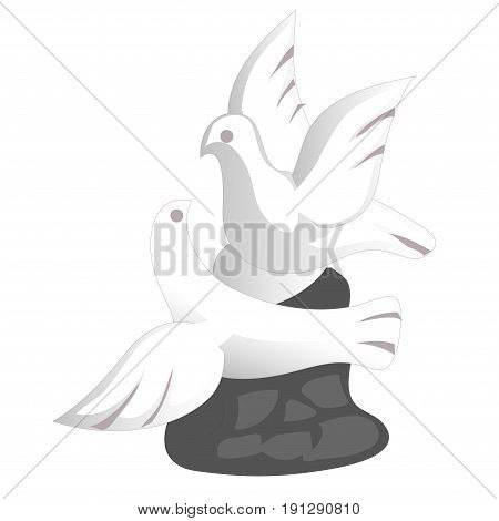 Porcelain doves souvenir toy in a flat design. Symbol of peace and love two birds flying with spread wings. Flying pigeons small glass statue isolated on white. Vector