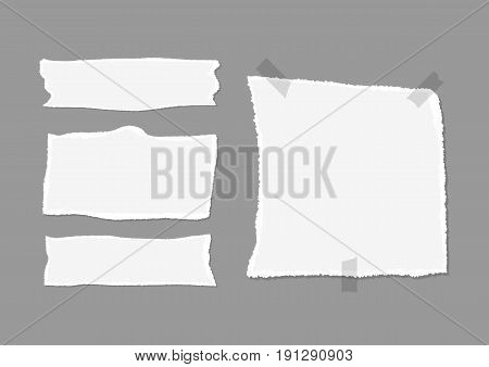 Set of pieces of torn paper with shadow and adhesive tape. Isolated on a dark gray background. Vector illustration.