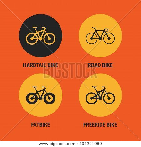 Icons Different Bicycle Bikes Option 3