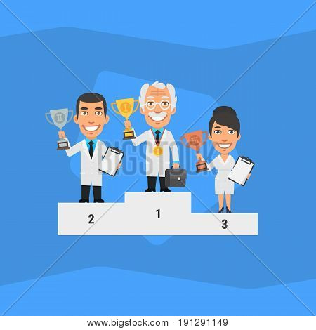 Three Scientists Standing on Pedestal and Holding Cup. Vector Illustration. People Character.