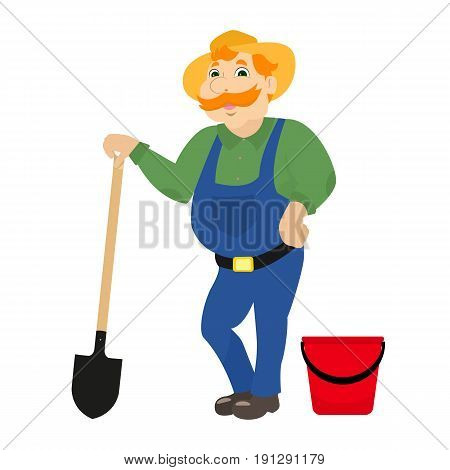 Vector illustration of a cartoon farmer standing with a bayonet shovel and a red bucket. A rural man in a hat, uniform and with a spade. Isolated white background. Flat style.