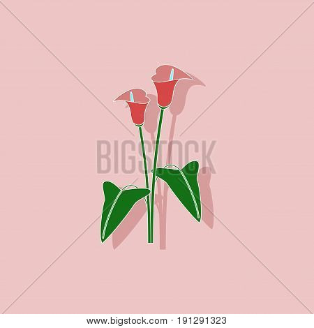 paper sticker on stylish background of flower calla