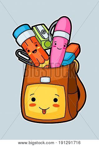 Kawaii school backpack with cute education supplies.