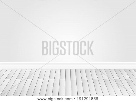 Gray wall and wood floor background. Vector