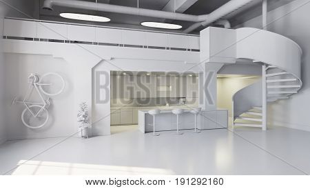 White Office Space With Kitchen Area And Spiral Stairs
