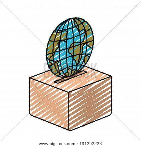 color crayon silhouette flat globe earth world depositing in a carton box vector illustration